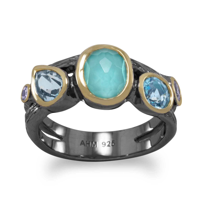 Bi Tone Plated Multistone Ring