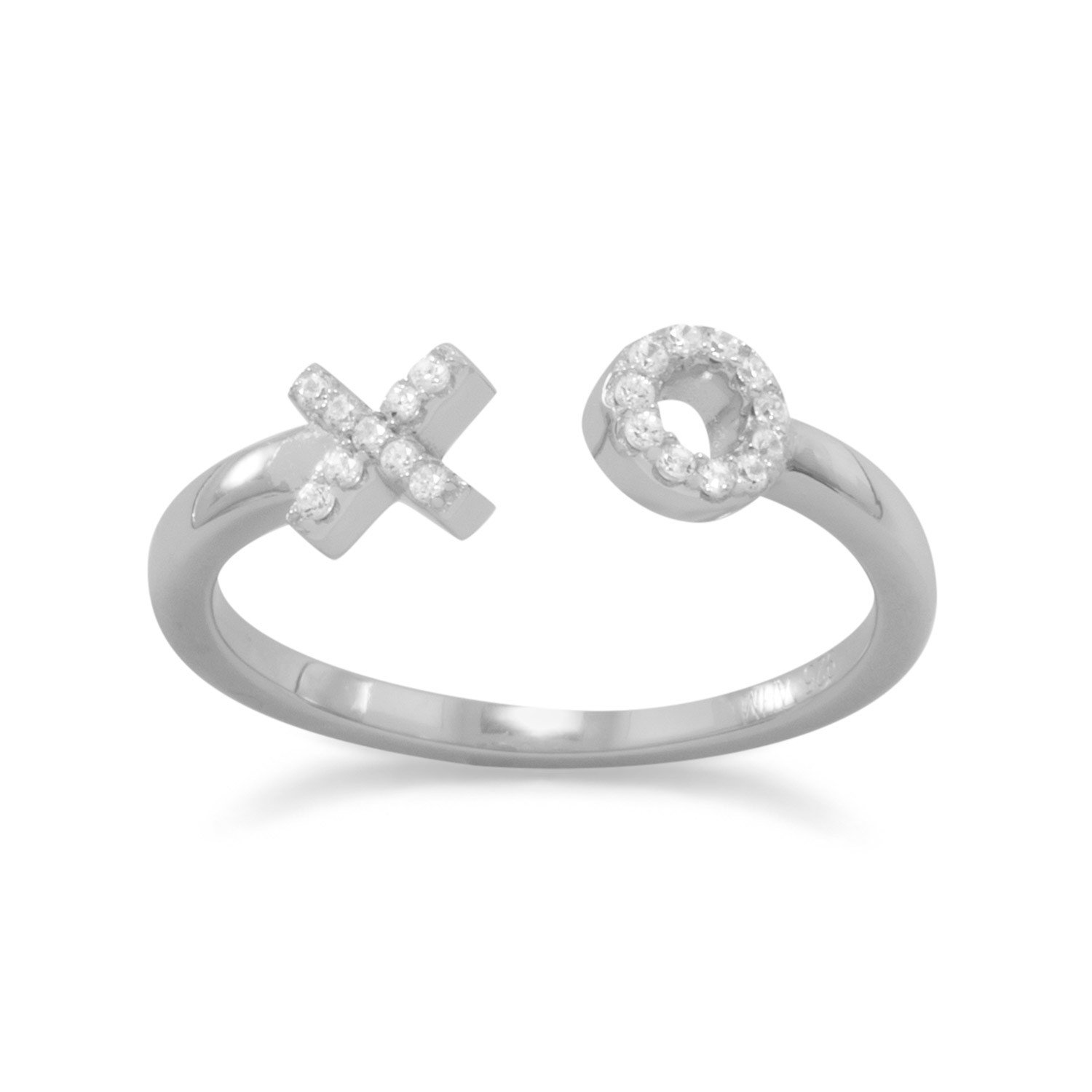 "Rhodium Plated CZ ""X"" and ""O"" Ring"