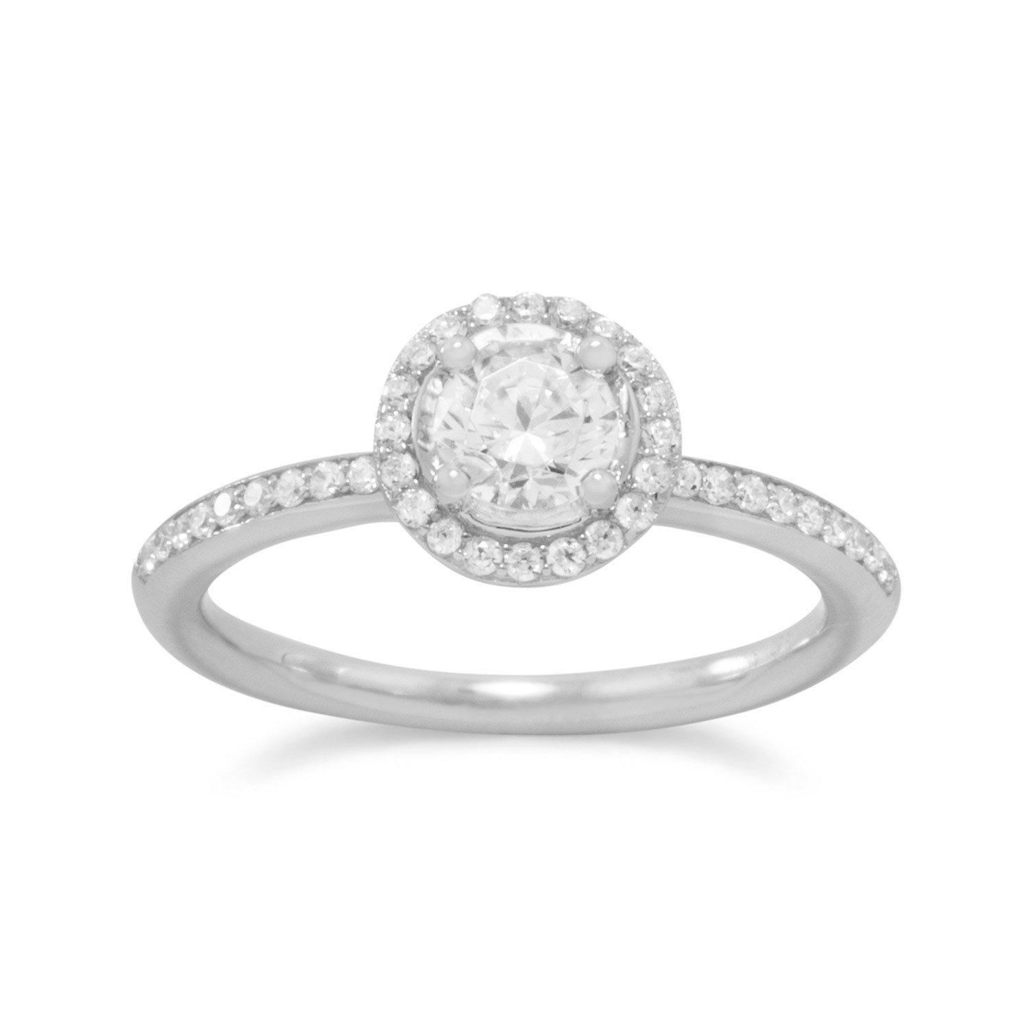 Rhodium Plated CZ Halo Ring