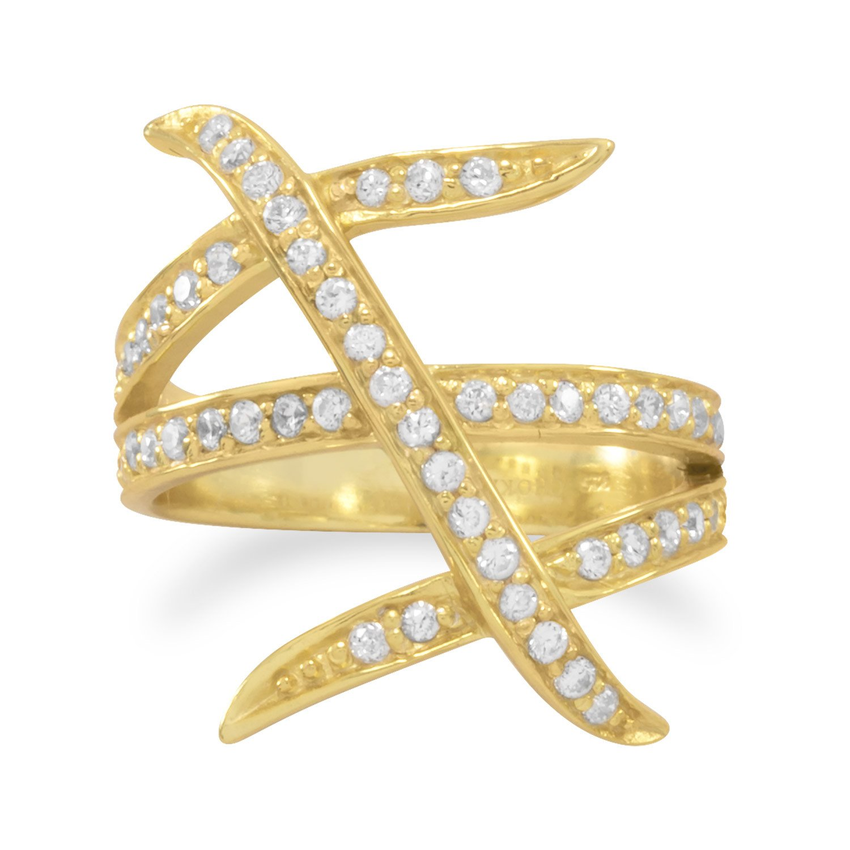 14 Karat Gold Plated Three Row Design CZ Ring