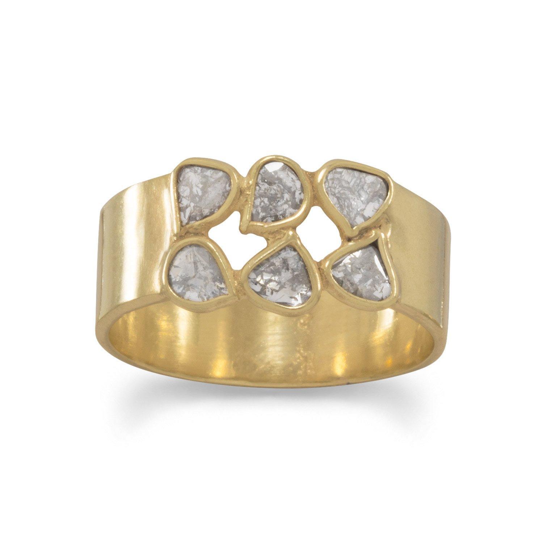 14 Karat Gold Plated Polki Diamond Ring