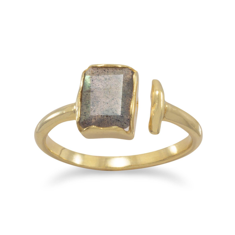 18 Karat Gold Plated Rectangular Labradorite Ring