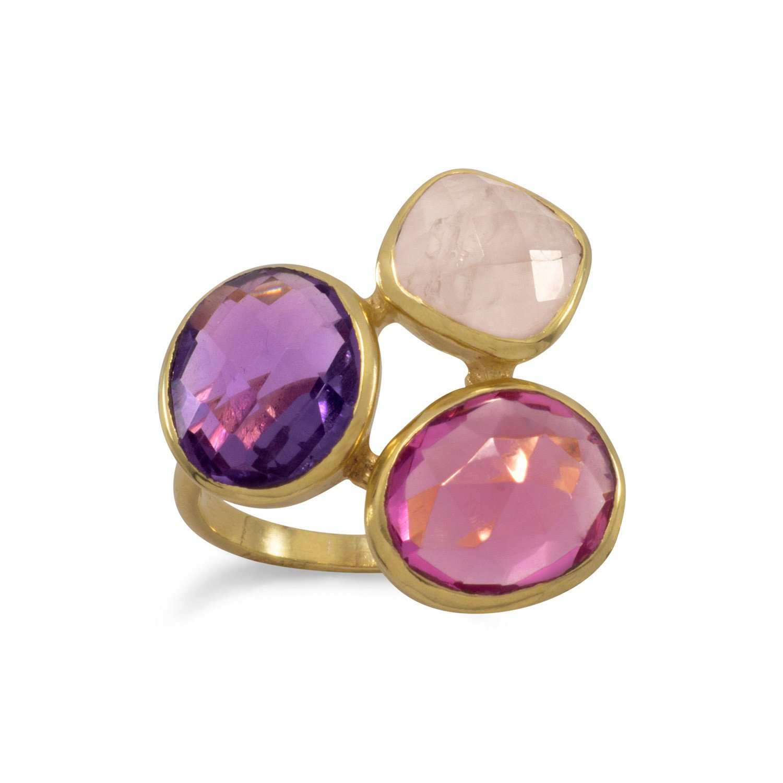 14 Karat Gold Plated Multistone Ring