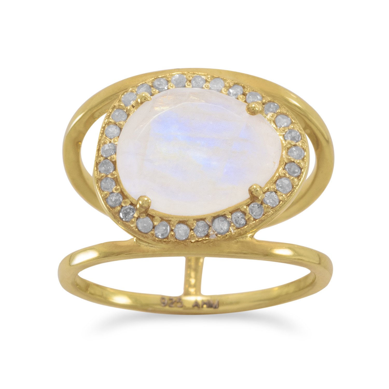 14 Karat Gold Plated Rainbow Moonstone and Gray Diamond Ring