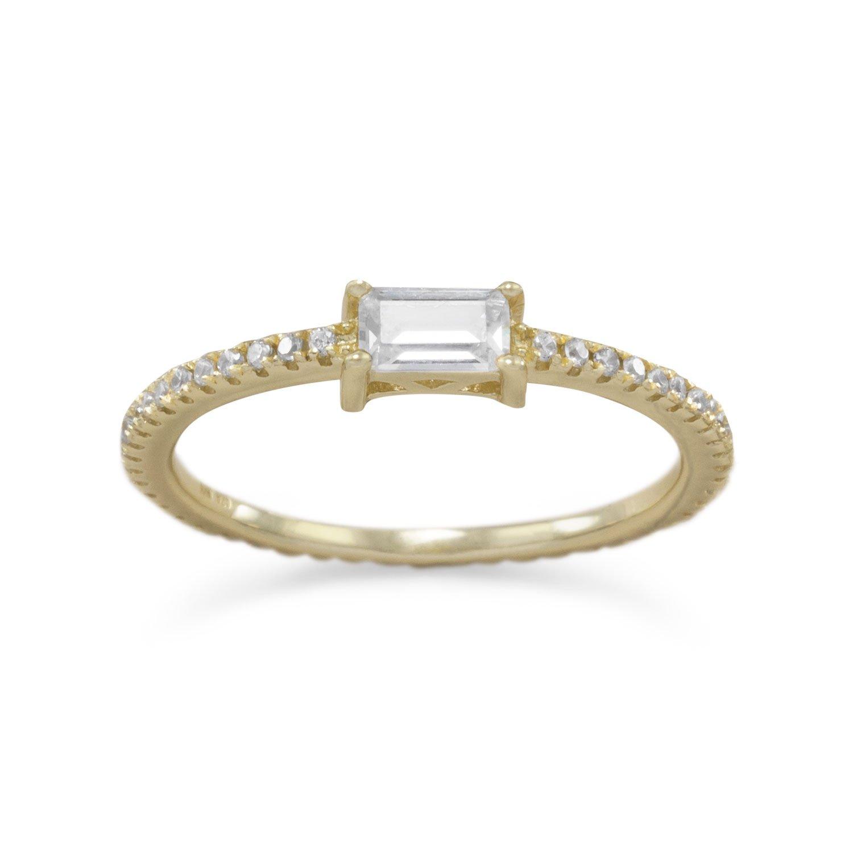 14 Karat Gold Plated Rectangle CZ Ring