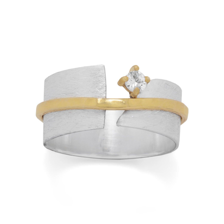 Two Tone Art Deco CZ Ring