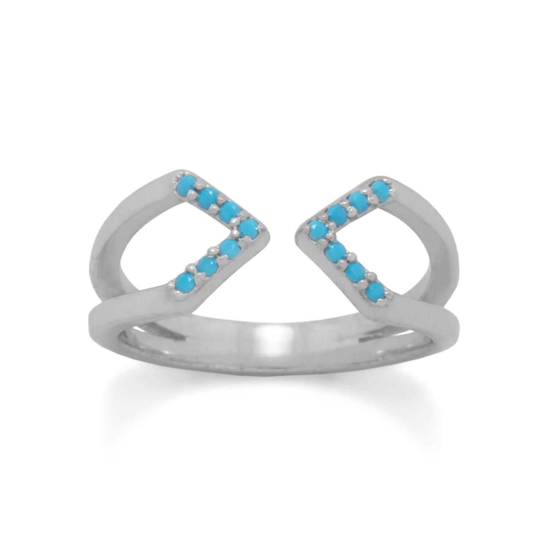 Rhodium Plated Nano Turquoise Split Ring