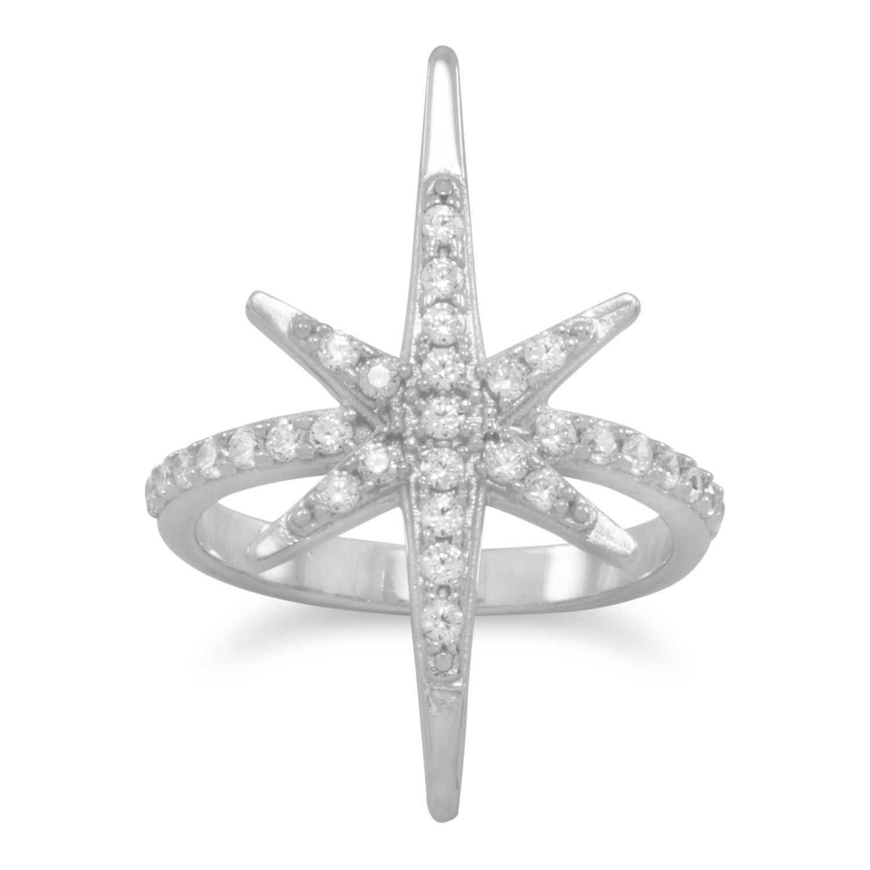 Rhodium Plated CZ Starburst Ring