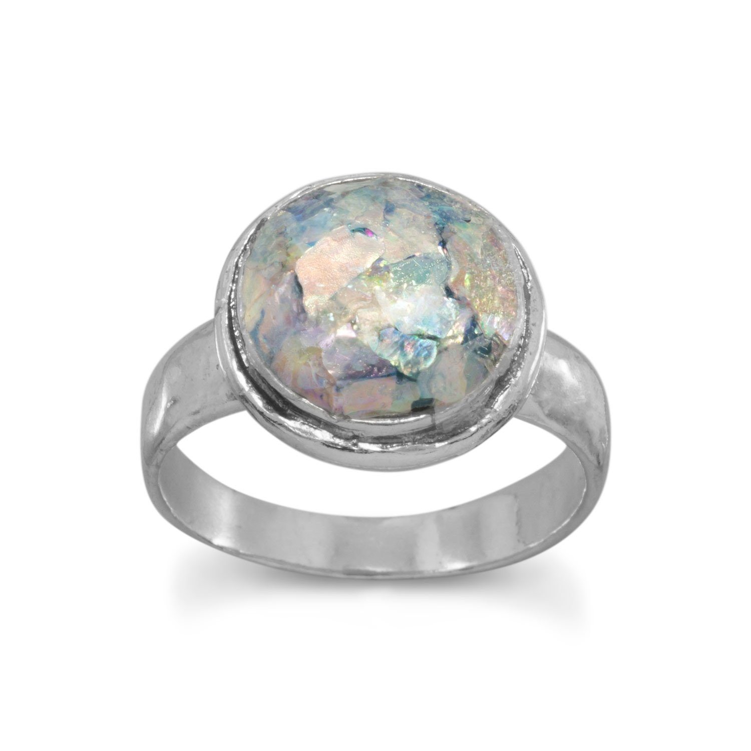 Round Ancient Roman Glass Ring with Hammered Band