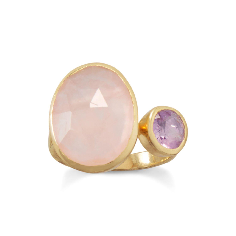 14 Karat Gold Plated Amethyst and Rose Quartz Split Ring