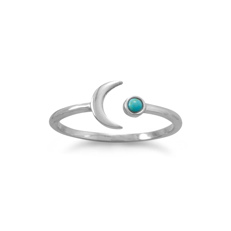 Rhodium Plated Turquoise Split Moon Ring