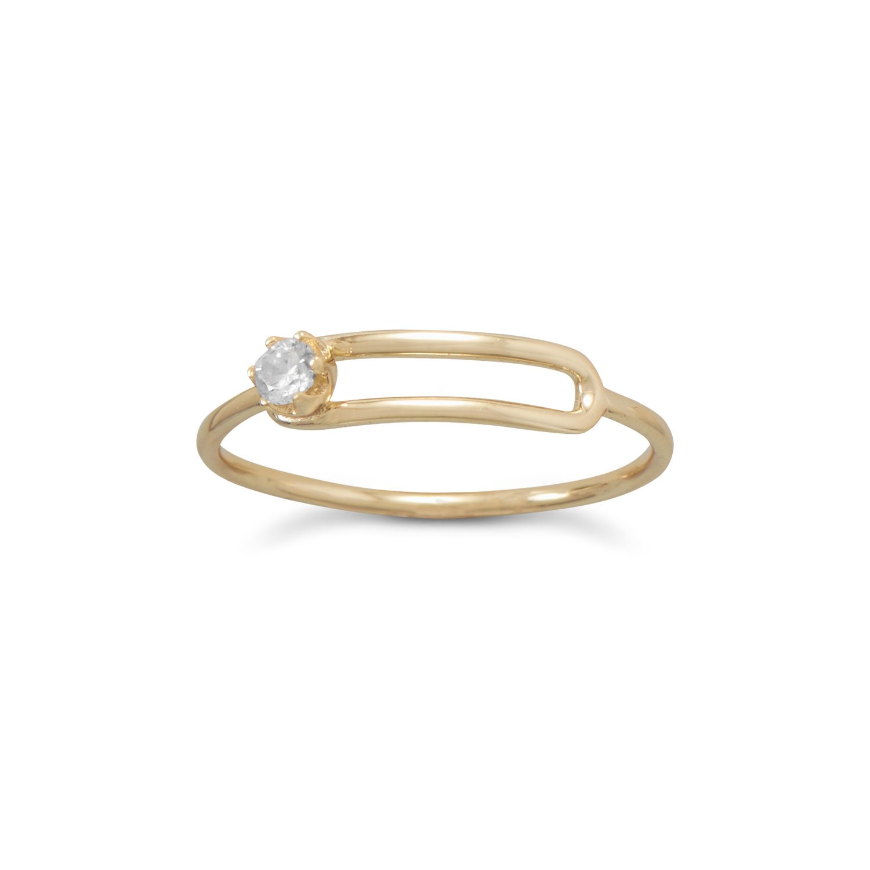 14 Karat Gold Plated Offset CZ Ring