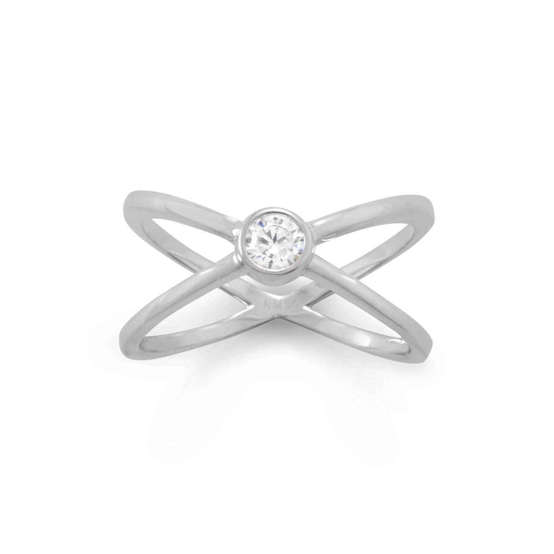 Rhodium Plated CZ Criss-Cross Ring