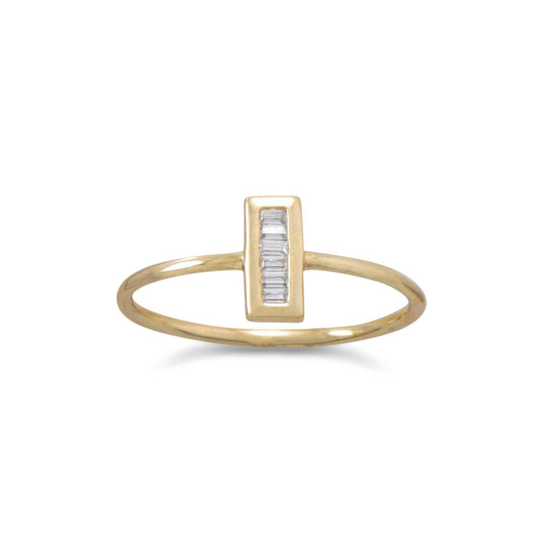 14 Karat Gold Plated Mini CZ Vertical Bar Ring