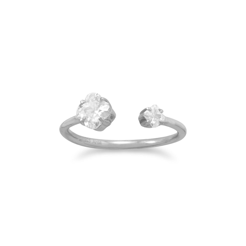 Rhodium Plated Quatrefoil CZ Split Ring