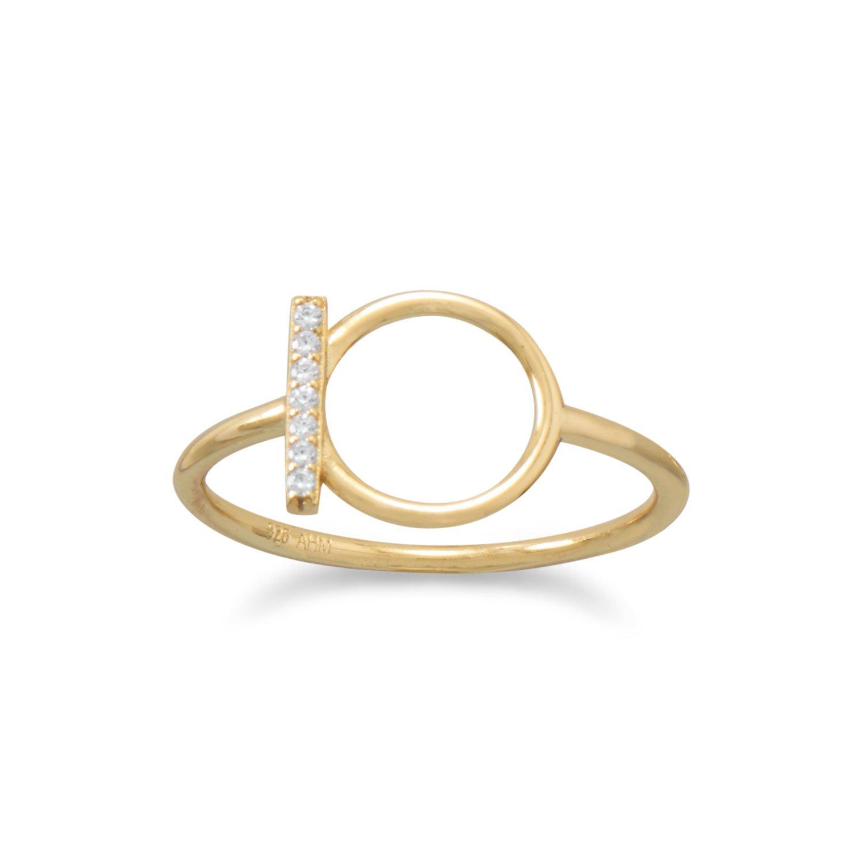 18 Karat Gold Plated CZ Bar and Circle Ring