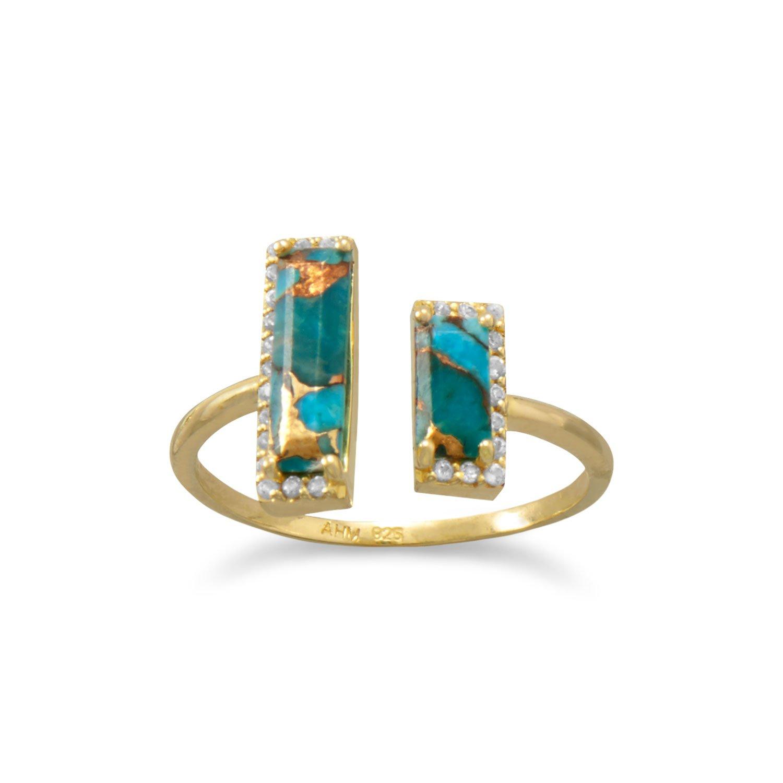14 Karat Gold Plated Copper Turquoise Split Bar Ring