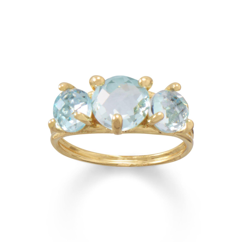 14 Karat Gold Plated Sky Blue Topaz Cocktail Ring