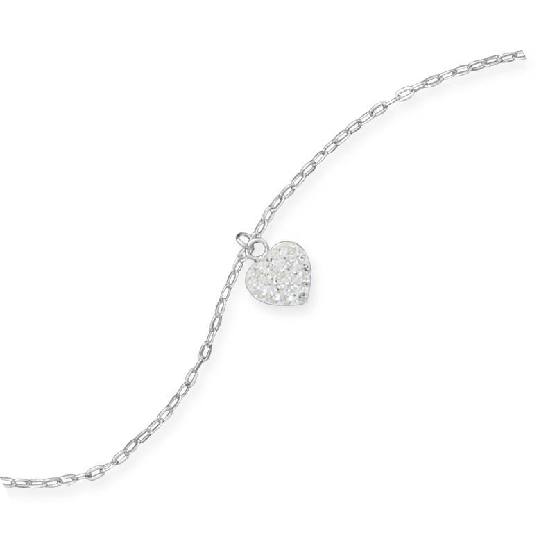 9″ + 1″ Crystal Heart Charm Anklet