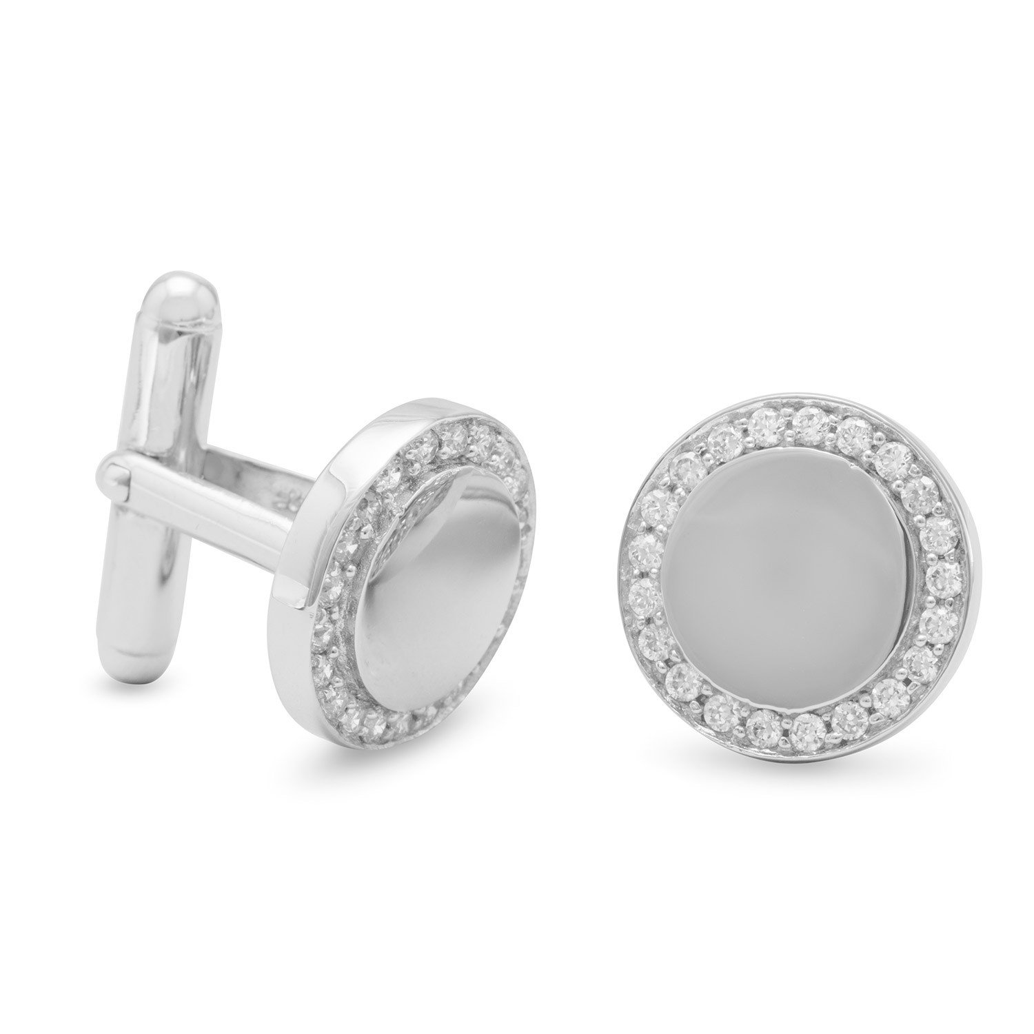 Rhodium Plated Cuff Links with CZ Edge