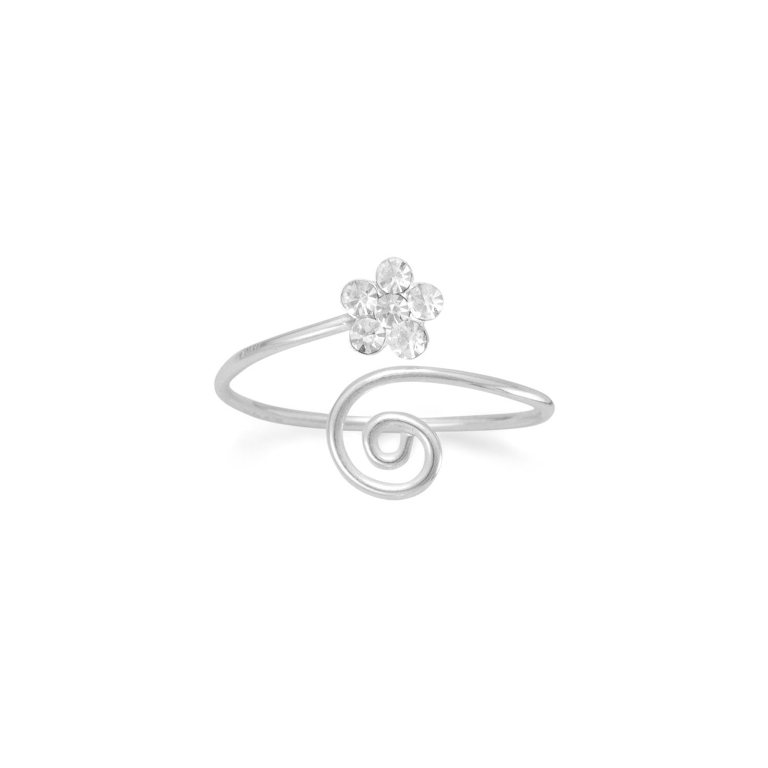 Wrap Design Toe Ring with Clear Crystal Flower