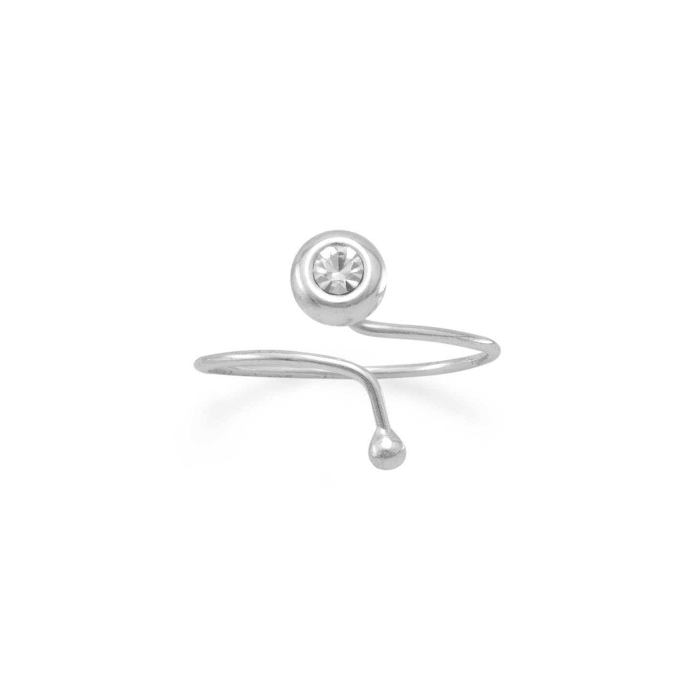 Toe Ring with Clear Crystal