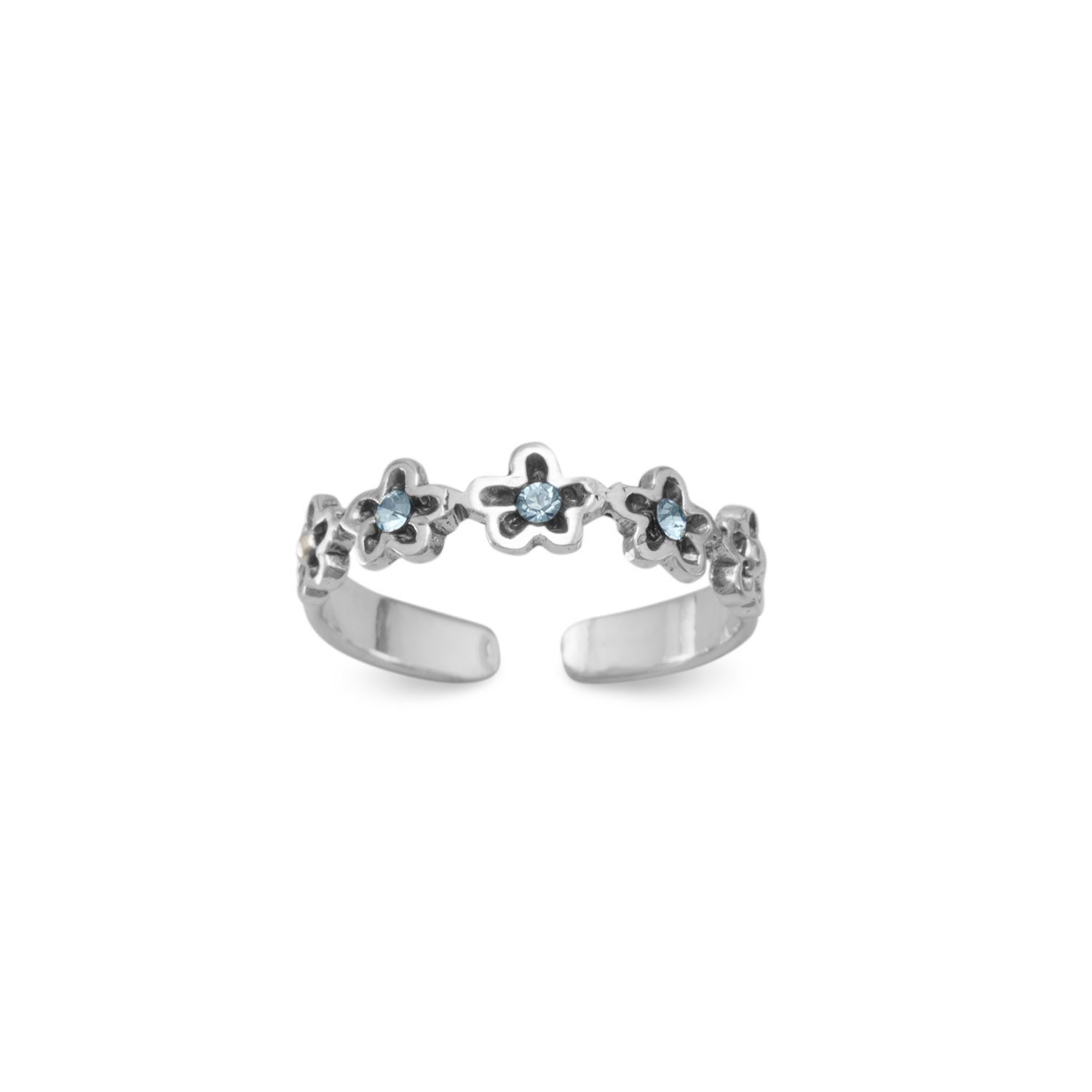 Oxidized Toe Ring with Blue Crystal Flowers