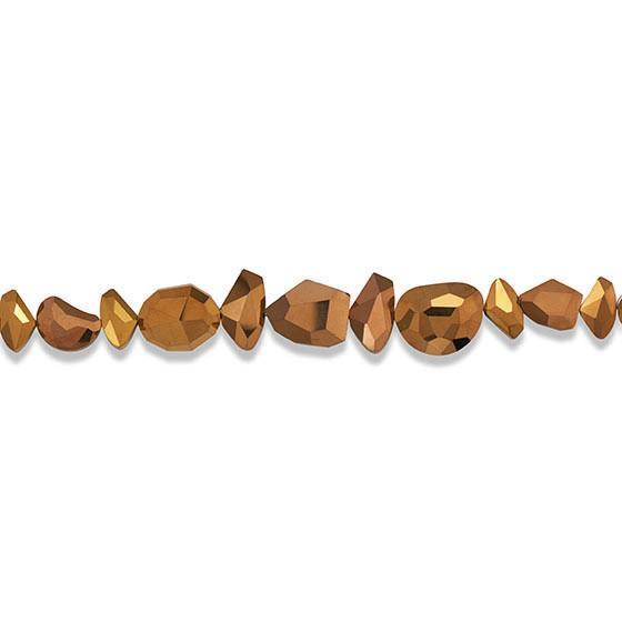 Strand of Metallic Copper Glass Nuggets