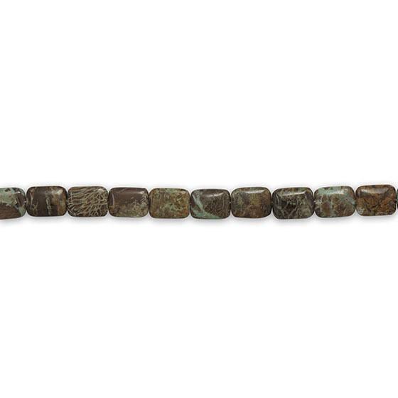 Strand of Rectangle Aqua Terra Jasper Beads