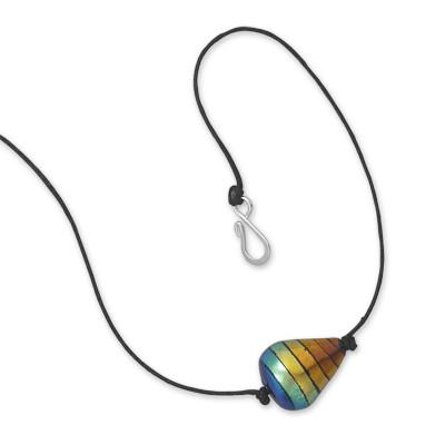 17″ Rainbow Dichroic Glass Fashion Necklace