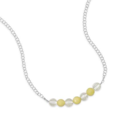 17″ Necklace with Faceted Lemon Quartz and Jade