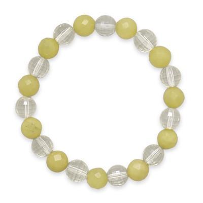 7″ Faceted Lemon Quartz and Jade Bracelet