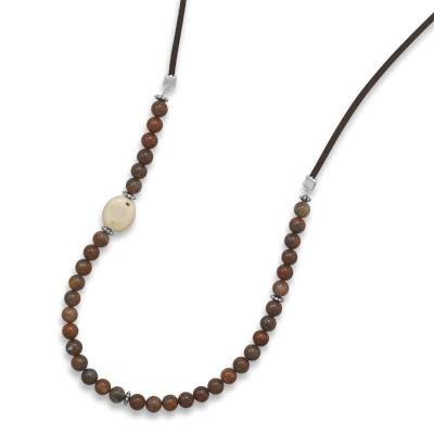 33″ Red Jasper and White Coral Suede Fashion Necklace