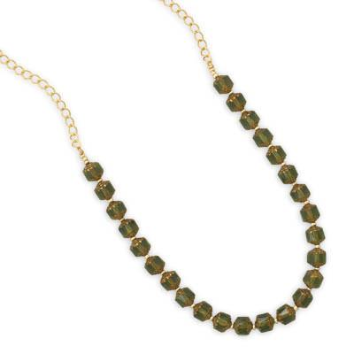 22″ Green Glass Bead Fashion Necklace