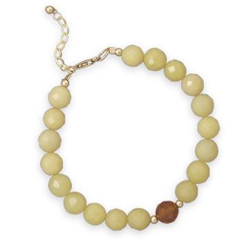 7.25″+1″ Jade and Agate 14/20 Gold Filled Bracelet