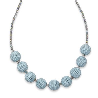 17″+2″ Glass and Crochet Bead Necklace