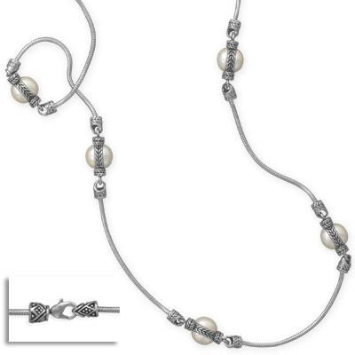 36″ Rhodium Plated Brass and Imitation Pearl Fashion Necklace