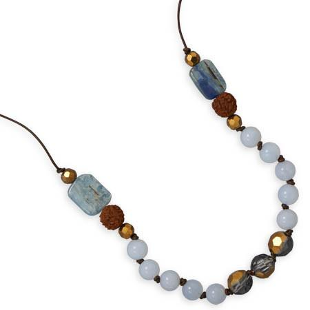 16″ + 2″ Chalcedony and Kyanite Fashion Necklace