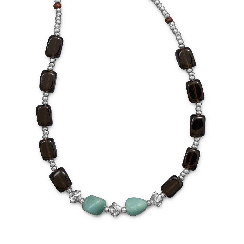 Smoky Quartz and Amazite Toggle Necklace
