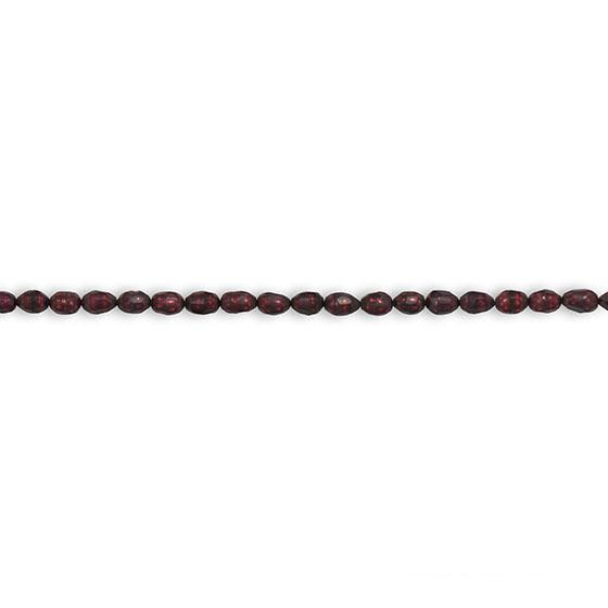 Strand of Red Cultured Freshwater Rice Pearls