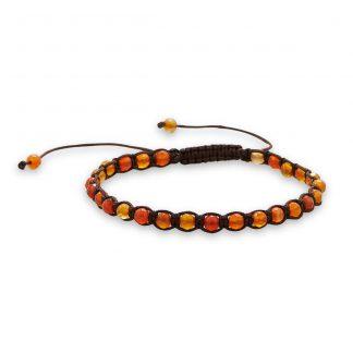 Adjustable Faceted Red Agate Bracelet