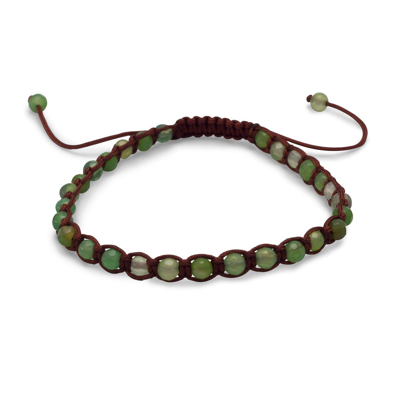 Adjustable Faceted Green Agate Bracelet