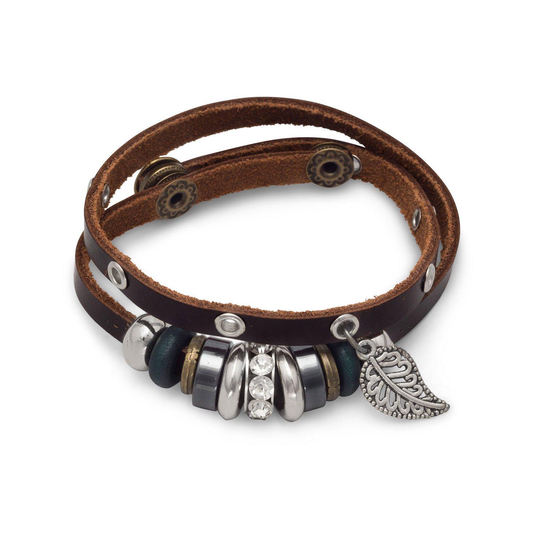 15″ + 1″ Multibead Leather Fashion Wrap Bracelet