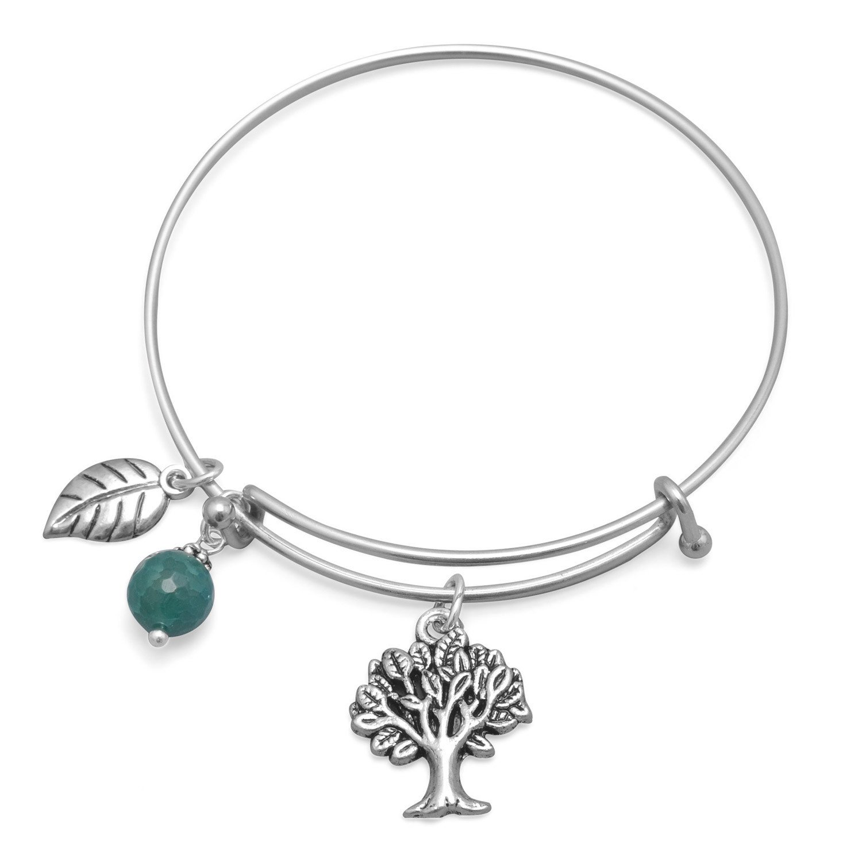 Expandable Tree Charm Fashion Bangle Bracelet