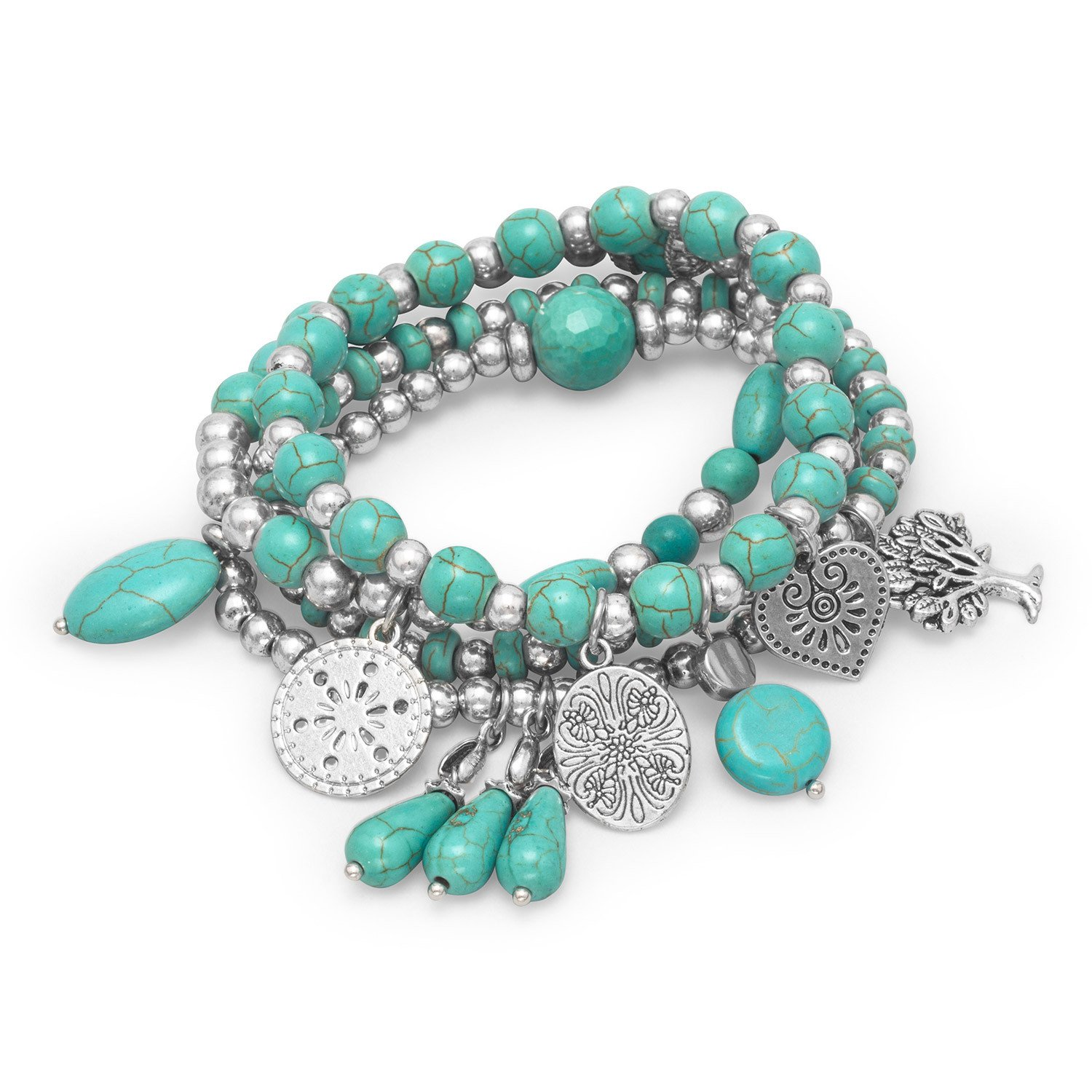 Set of 4 Silver Tone Multicharm Fashion Stretch Bracelets with Reconstituted Turquoise
