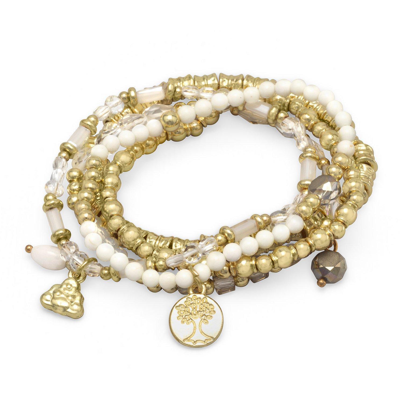 Set of 5 Gold Tone Multicharm Fashion Stretch Bracelets with White Beads