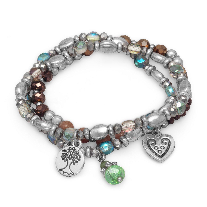 Set of 3 Silver Tone Multicharm Fashion Stretch Bracelets