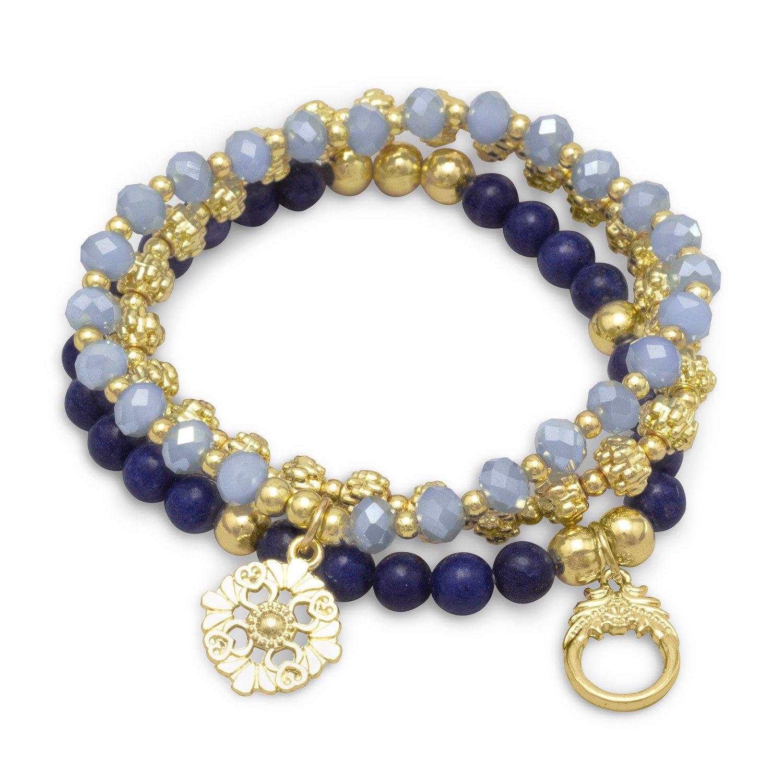 Set of 3 Gold Tone Flower Charm Fashion Stretch Bracelets with Blue Agate