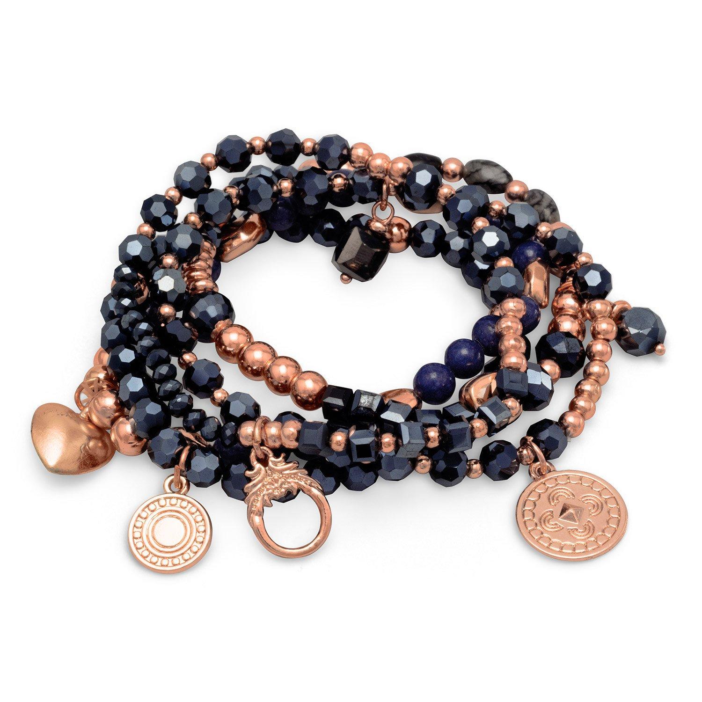 Set of 5 Copper Tone Multicharm Fashion Stretch Bracelets