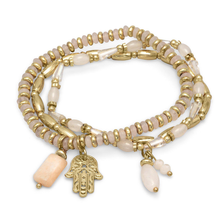 Set of 3 Gold Tone Fashion Stretch Bracelets with White Beads